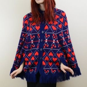 Vintage 1960s Cape with Hearts